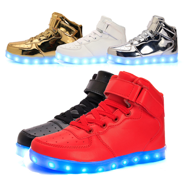 Tamaño 25-37//cesta de carga usb led high top niños shoes con Luz Up Kids Boys & Girls Casual Luminoso Que Brilla Intensamente zapatillas de deporte