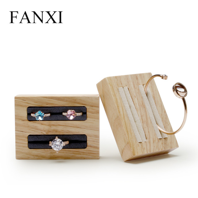 FANXI  Solid Wood Ring Bangle Display Stand Jewelry Holder with Beige /Dark Grey Microfiber 2 Rows Jewelry Organizer Showcase