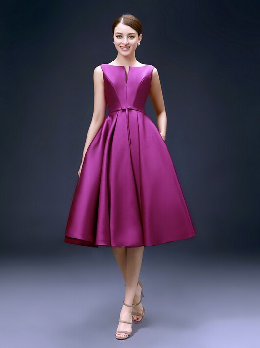 knee length fuchsia dress (2)