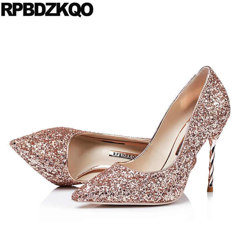 39f2d71028c1 ... High Heels Silver Glitter Pumps Scarpin Big Size Black Bride Strange  Crystal Sparkling 10 42 Shoes ...