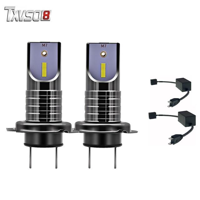 TXVSO8 2Pcs h7 led car headlight bulbs with canbus Kit CSP Chips White 6000K 55W led Headlamp Bulb 12V auto Fog Light Moto lamp