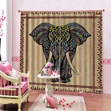 Elephant 3D Curtains For Living room Bed room Office Hotel Home Wall Blackout Curtains 2019(China)