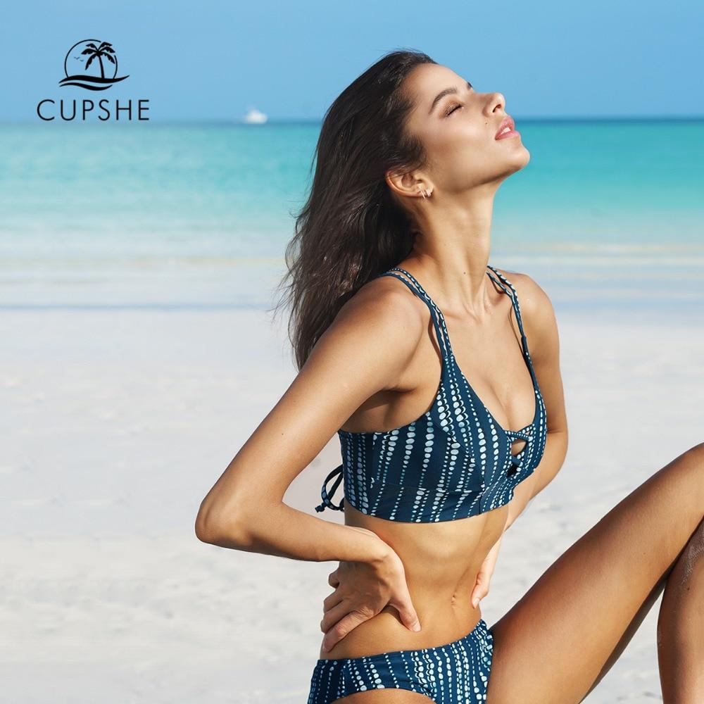 CUPSHE Dream Space Bikini Set Women Lace Up Cross Thong Triangle Bikini Swimwear 2020 Beach Bathing Suit Swimsuit 4