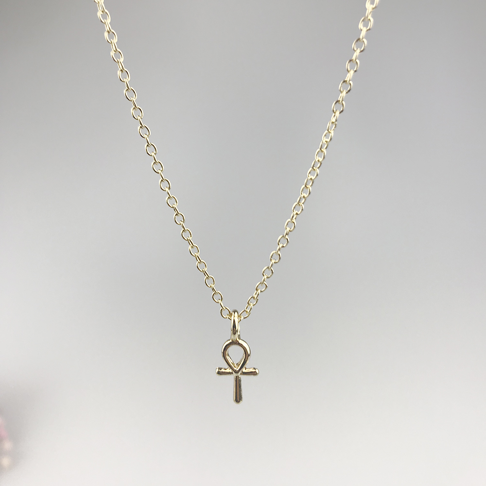 Sparkling Goddess Ankh Cross Necklace Gold Color Pendant Necklace Clavicle Chain Statement Necklace Women Jewelry E021