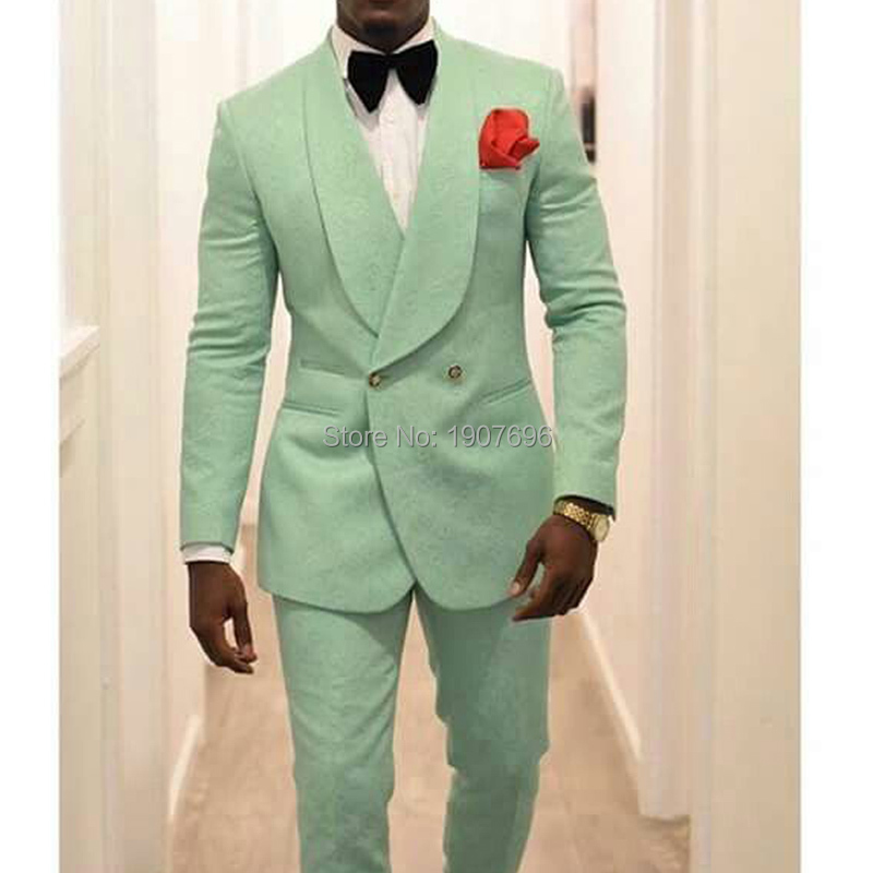 Vestidos de Casamento Smoking para o para o Cantor Roupas de Palco Menta Verde Slim Fit Noivo Cantor Prom Homem Terno Double Breasted Xale 2 Pedaço Calças Jaqueta Homens