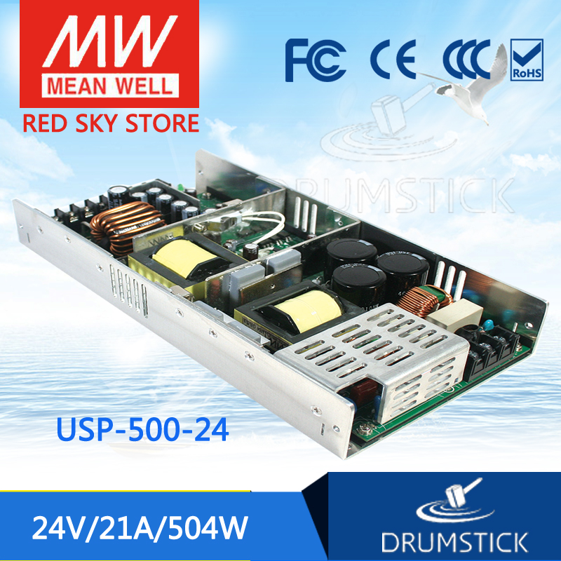 Hot sale MEAN WELL USP-500-24 24V 21A meanwell USP-500 408W Single Output with PFC Function Power Supply advantages mean well usp 225 24 24v 9 4a meanwell usp 225 24v 225 6w single output with pfc function power supply