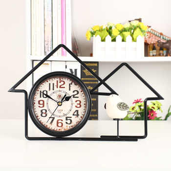 Meijswxj 6 นิ้วตารางนาฬิกาโบราณ Wrought Iron Bird ส่วนบุคคลตารางนาฬิกาตกแต่ง Desktop Home นาฬิกา