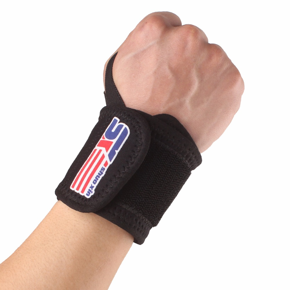 Free Shipping Sports Elastic Stretchy Wrist Joint Brace Support Wrap Band Thumb Loop - Black