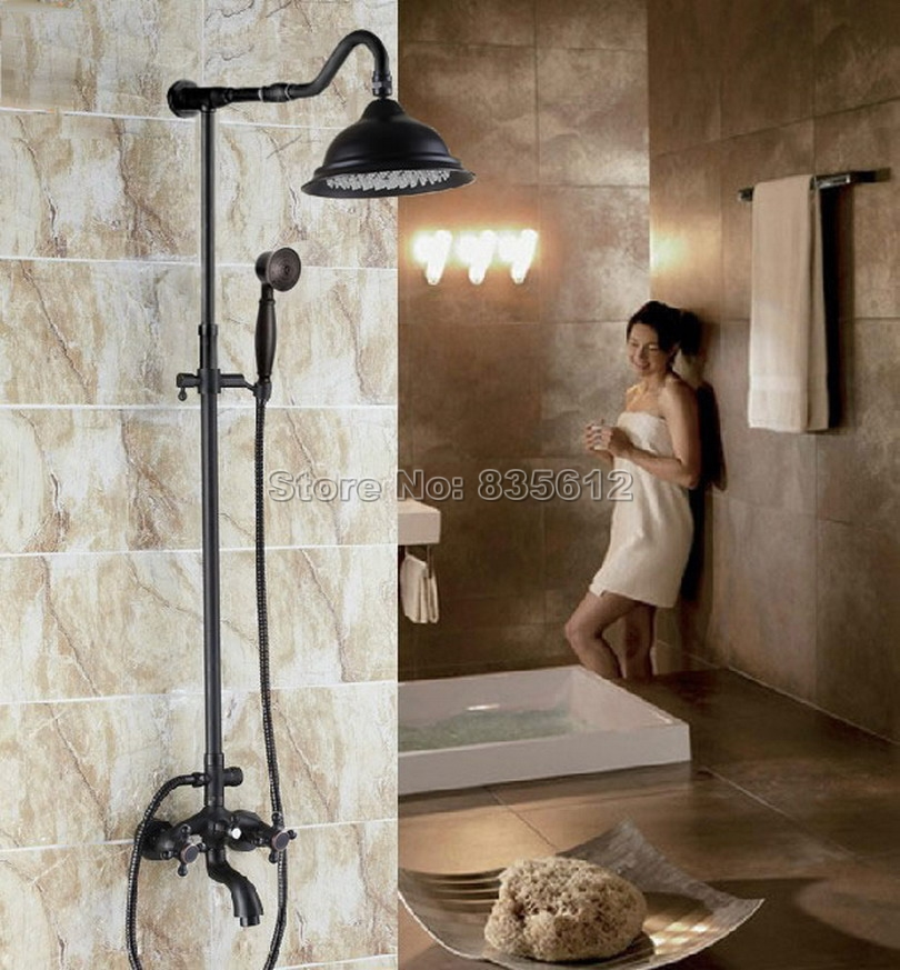 Bathroom Black Oil Rubbed Bronze Rainfall Shower Set Faucet + Dual Handles Tub Mixer Tap + Handheld Shower Wall Mounted Wrs751