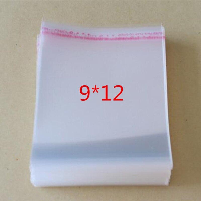 100 Pcs/Lot Self Adhesive Plastic Bag Self Adhesive Seal Bag Clear Resealable Cellophane/Poly Bags 12*9cm Transparent OPP Bag