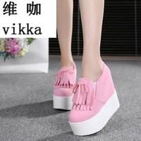 Wedge High Heels Zapatos Mujer Platform Heels Ladies Canvas Shoes Chaussure Femme Women School Valentine Zapatos