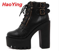 Chunky High Heels Winter Autumn Motorcycle Boots Women Booties Platform Shoes Woman Women Ankle Boots Black