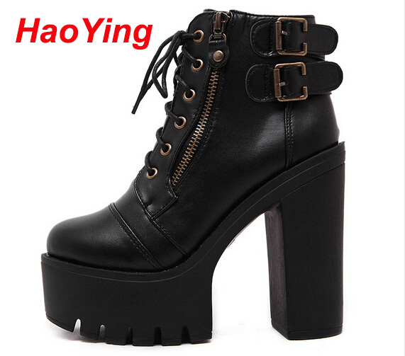 chunky high heels winter autumn motorcycle boots women booties platform shoes woman women ankle boots black punk boots D209