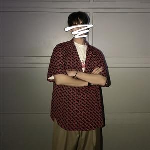 Image 2 - 2019 camisa hawaiana de manga corta con estampado Irregular de entramado para hombres, camisa de moda de marca para hombres con puño francés