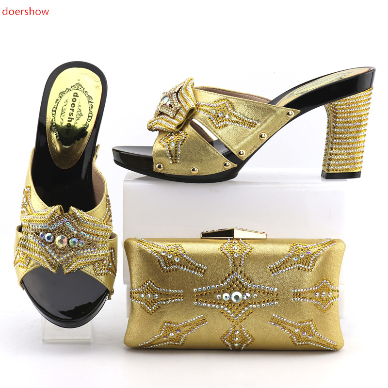 doershow  New Italian Shoes with Matching Bags for Women Nigerian Women Wedding Shoes and Bag Set Italy Shoes and Bag Set OP1-3 new design italy matching bags and shoes high quality italian shoes and bags to match women sandal pumps for wedding hs002