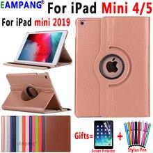 Xoay 360 Độ Da Thông Minh Vỏ Dành Cho Apple iPad Mini 4 Mini 5 2019 7.9 Mini4 Mini5 A1538 a1550 Coque Funda