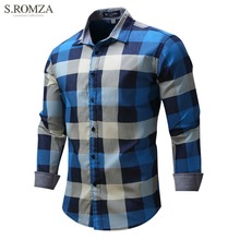 S.ROMZA Men Long Sleeve Denim Plaid Shirt Comfortable Turn-down Collar Cardigan Male Shirts Casual Clothing For Man EUR M-3XL