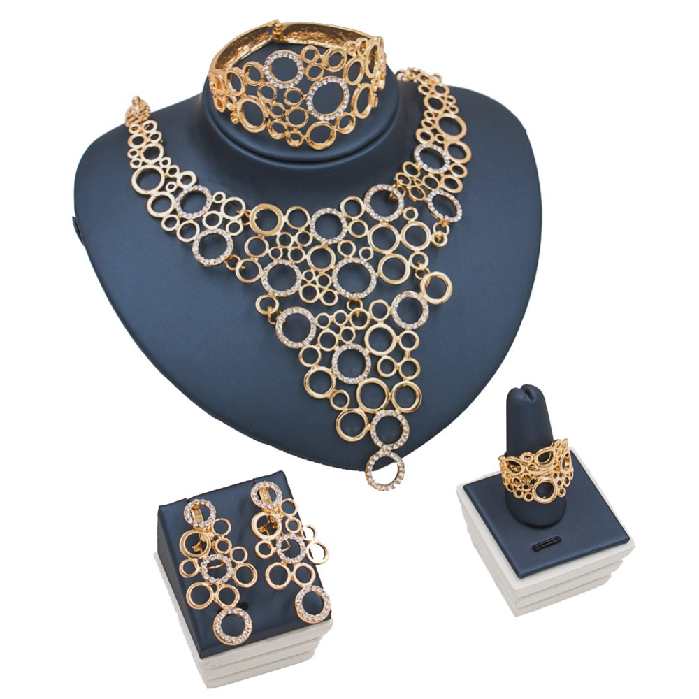 Nigerian jewelry african coral beads jewelry set gold color ladies jewellery set earrings necklace ring bracelet free shipping
