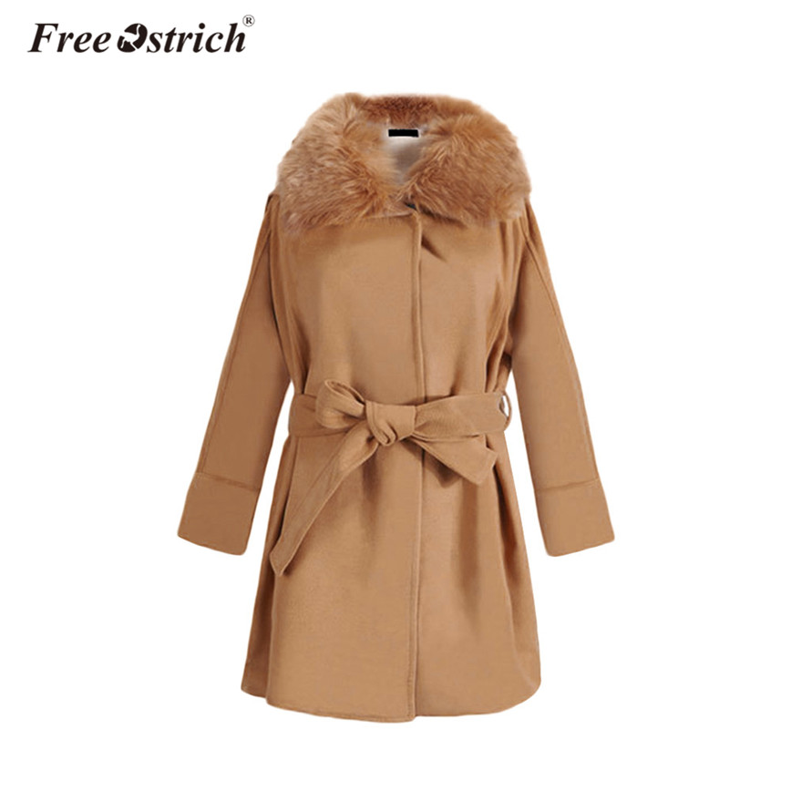 Free Ostrich Trench Coat Women Winter Fur Collar Hooded Outerwear Thick Warm Sashes Long Sleeve Coats Slim Heavy Overcoat A0840
