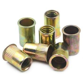 цена на 50pcs M8 Normal Head Rivet Nut Threaded Multi Blind Rivnut Insert Nutsert Steel