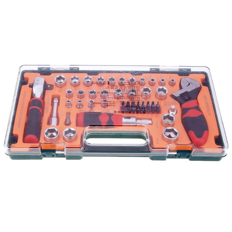 49pcs Ratchet Screwdriver Wrench Combination Bushing Sleeve Kit Set Appliance Mechanical Repair Tool Hand Tool Sets 42pcs ratchet socket set screwdriver wrench electrician repair case multifuntion waist bag hand tool 35 0 combination tool case