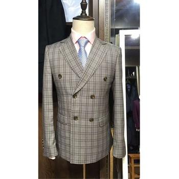 Customized new men's double-breasted suit two-piece suit (jacket + pants) men's business dress wedding groom groomsmen dress