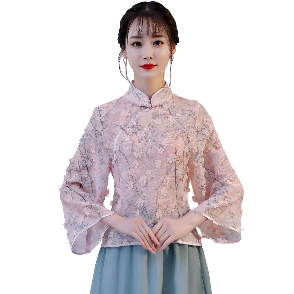 e18fa8d1b ... Embroidery Floral Shirt Chinese Women Exquisite Vintage Flare Sleeve  Blouse Lady Mandarin Collar Improved Tops. -40%. Click to enlarge