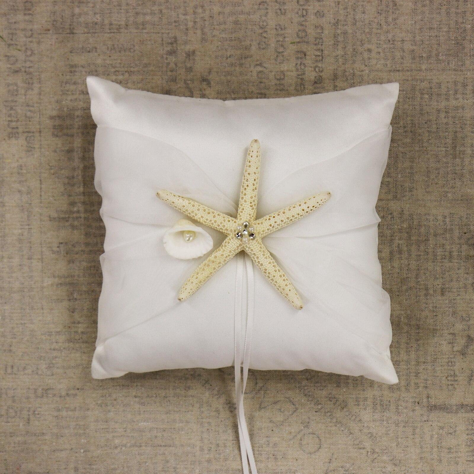 Nuptiale douche étoile de mer fleur panier blanc tache poire anneau oreiller de mariage fête décoration invité livre ensemble accessoires de mariée - 5