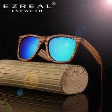 Ezreal поляризованные зебры Деревянные Солнцезащитные очки для женщин Для мужчин Для женщин ручной работы Винтаж деревянный Рамка мужской вождения Защита от солнца Очки оттенков Gafas с коробкой