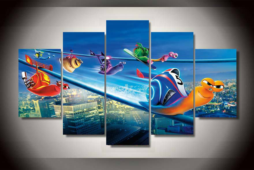 Framed Printed Cartoon Movie Turbo Snail Framed Canvas Wall Art Children 39 S Room Decor Print