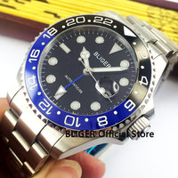 Sapphire Crystal BLIGER 40mm Black Dial Blue Black Ceramic Bezel GMT Function Luminous Marks Automatic Movement Men's Watch B329