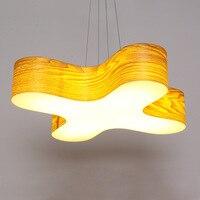 De designer houten log LED hout hanger lampen eetkamer slaapkamer studie office hout ring verlichting hanglamp ZA90621