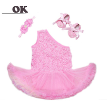 OK Baby Girl Rose Pattern 3 PCS Dresses for Baby Girl Dress Princess Girls Tutu Dress Girl Toddler Kids Baptism Ball Gown Dress цена в Москве и Питере
