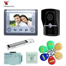 Yobang Security freeship 7″Home Video Intercom Door phone System 1 Monitor+5 RFID Card Reader Door Camera Night Vision Intercom
