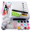 New UV Gel Nail Art Kit White 36W UV Lamp Nail Dryer 12 UV Gel Polishes Sets Topcoat File Nail Gel for Manicure Salon Tools Kit