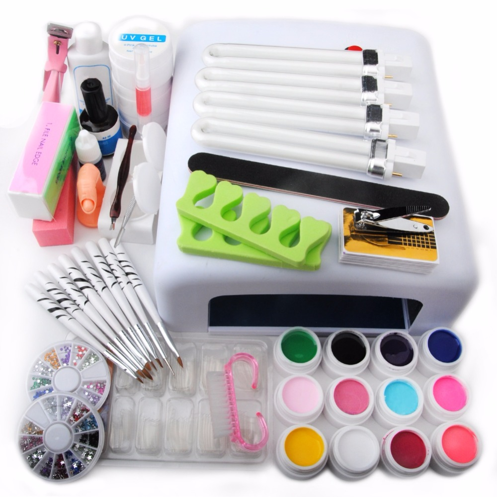 UV Gel Nail Polish Manicure Kit 36W Nail Dryer Lamp + 12 UV Gel Vanishes Topcoat Tips Cutter ...