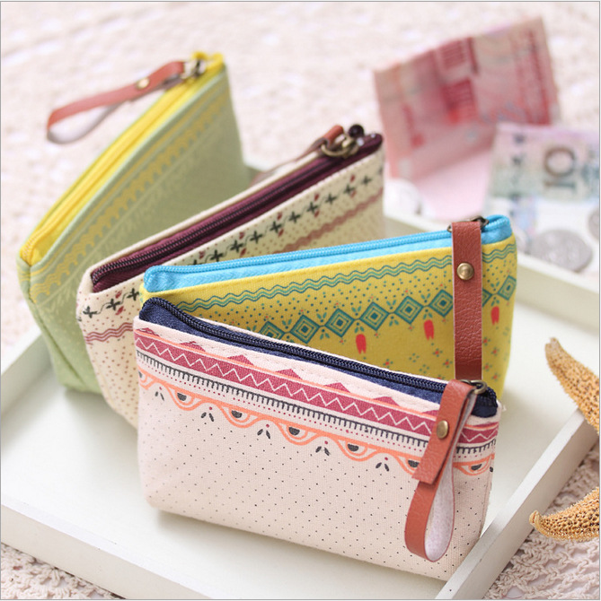 Country Style Women Small Storage Bags for Key Card Headphone Coin Purse Practical Canvas Daily Little Bags Travel Accessories