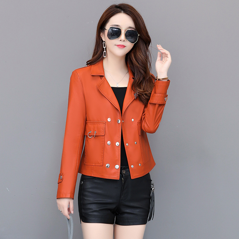 New PU   Leather   Jacket Women Fashion Bright Colors Black Motorcycle Coat Short Faux   Leather   Soft Biker Jacket Female
