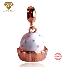 цена на Zhaoru 925 Sterling Silver Enamal Pendant Charm Fit Pandora Bracelet & Bangle & Necklace DIY Fine Jewelry Charm None Stone