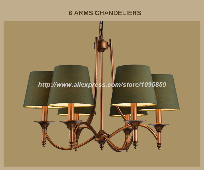 3 6 8 Lights American Style Vintage Chandelier Light Lamp Dining Room Green Fabric Shade Ceiling Fixtures Lighting Aliexpress Mobile