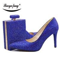 BaoYaFang/королевские синие/оранжевые свадебные туфли с кристаллами и сумочкой в стиле «Macthing», туфли лодочки на высоком каблуке 11 см, женские ту