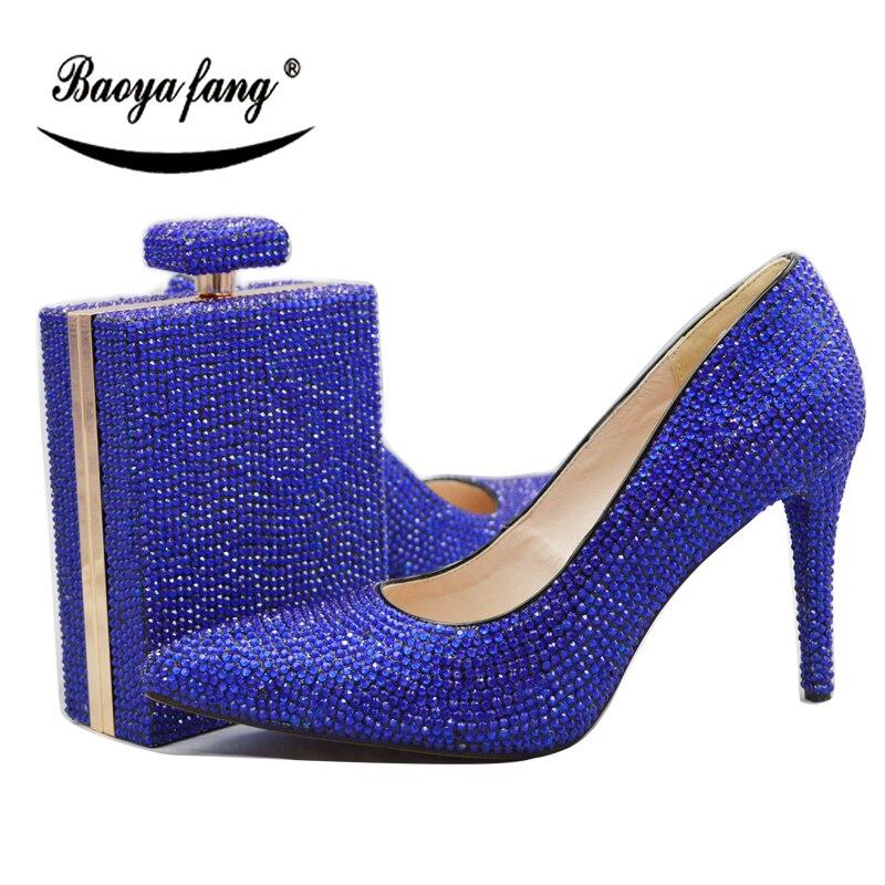 Shoe Blue 11 Cristal Femmes Macthing Haute Baoyafang Royal Sacs Avec En orange Bout Des With Bleu Talons Pointu Bag De Cm forme orange Mariage Bag Chaussures Plate Pompes 7g7qwBCPI