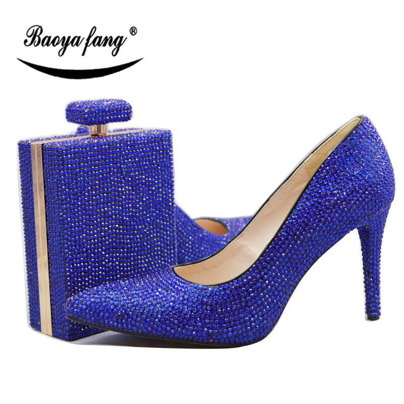 BaoYaFang Royal Blue/Orange Crystal Wedding Shoes With Macthing Bags 11cm High heels Pumps Pointed Toe fashion shoes for woman baoyafang red crystal womens wedding shoes with matching bags bride high heels platform shoes and purse sets woman high shoes