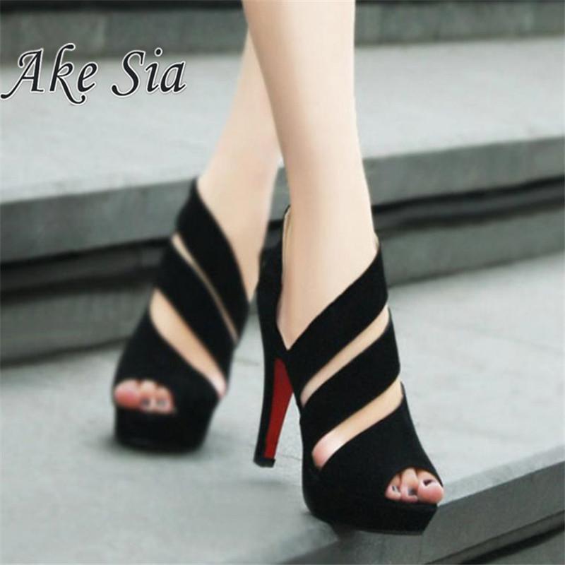 HOT 2018 Sandalia Feminina Summer Gladiator High heels Peep Toe sandals casual shoes woman Waterproof platform sandals  F245