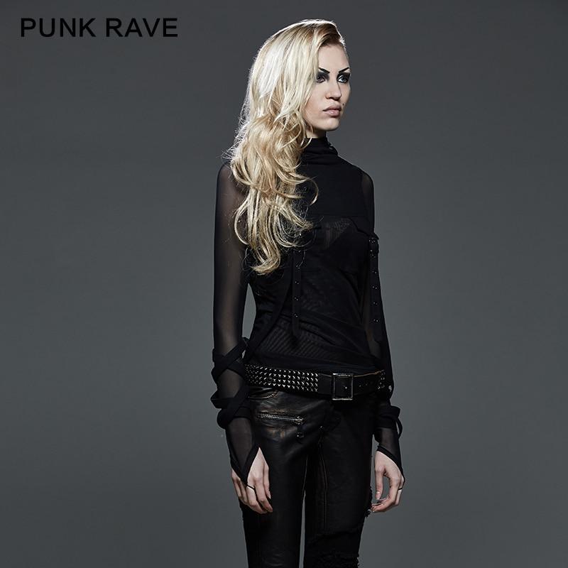 Lourd 407 Capuche À Rave Capot T Translucide Noir Punk Grand Stretch Manches shirt Black Rue Longues Mode Foncé Tops T Steampunk 5FqTHZ