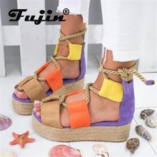 Fujin Summer Espadrilles Women Flat  Sandals 3CM Heel Fish Mouth Dropshipping Woman Hemp Lace Up Platform