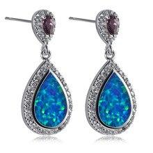Blue Fire Opal Amethyst 925 Sterling Silver Fashion Earrings P299