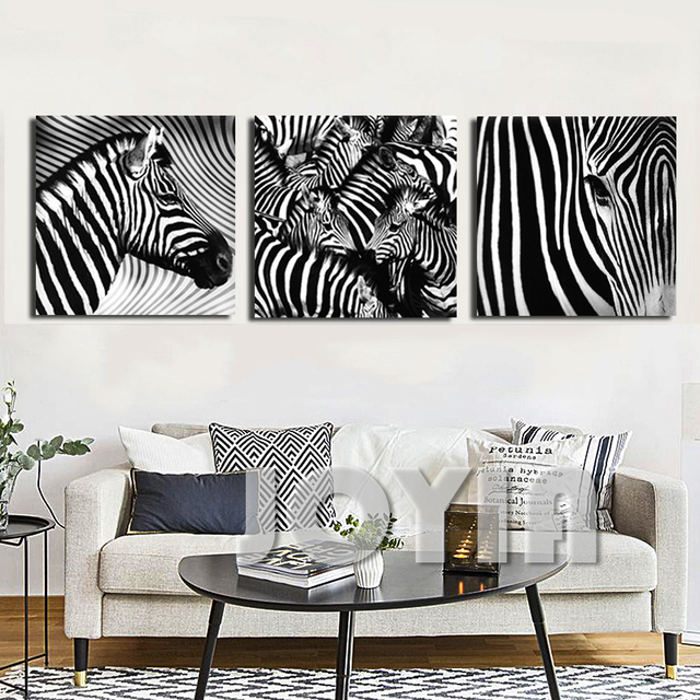 3 Panel Wall Art Decorative Paintings Black And White Zebra Decor Pictures Indoor Adornment Room