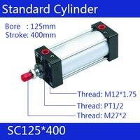Стандартный цилиндры воздуха клапан 125 мм диаметр 400 ход SC125 * 400 один стержень двойного действия пневматический цилиндр