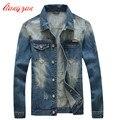 Homens Casacos Jaqueta Jeans Estilo Coreano Jaqueta Casual Marca Crânio Plus Size M-5XL Slim Fit New Denim Jean Sobretudos F2314